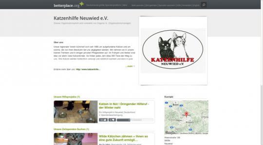 Screenshot Betterplace - Unterstützen Sie uns durch Ihre Spende!