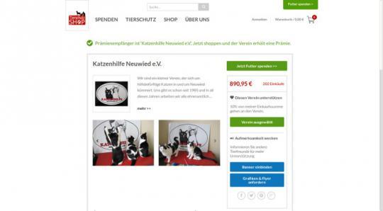 Screenshot Tierschutz-Shop - Unterstützen Sie uns durch Ihren Einkauf!