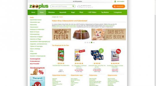 Screenshot Zooplus - Unterstützen Sie uns durch Ihren Einkauf!